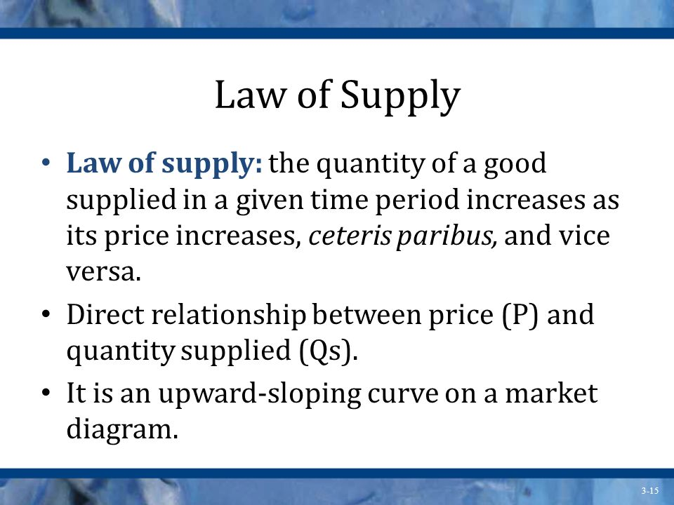 3-15 Law of Supply Law of supply: the quantity of a good supplied in a given time period increases as its price increases, ceteris paribus, and vice versa.