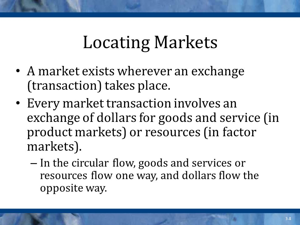 3-8 Locating Markets A market exists wherever an exchange (transaction) takes place.