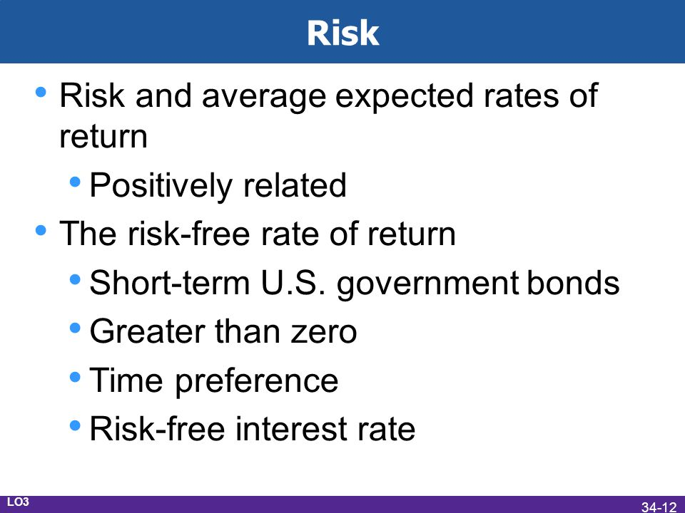 Risk Risk and average expected rates of return Positively related The risk-free rate of return Short-term U.S.