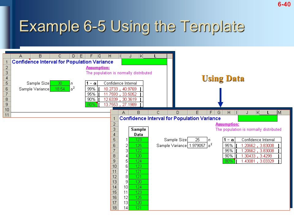 6-40 Example 6-5 Using the Template Using Data