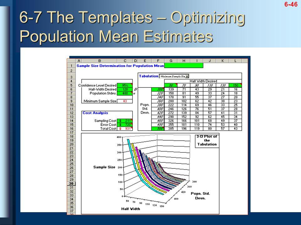 6-46 6-7 The Templates – Optimizing Population Mean Estimates