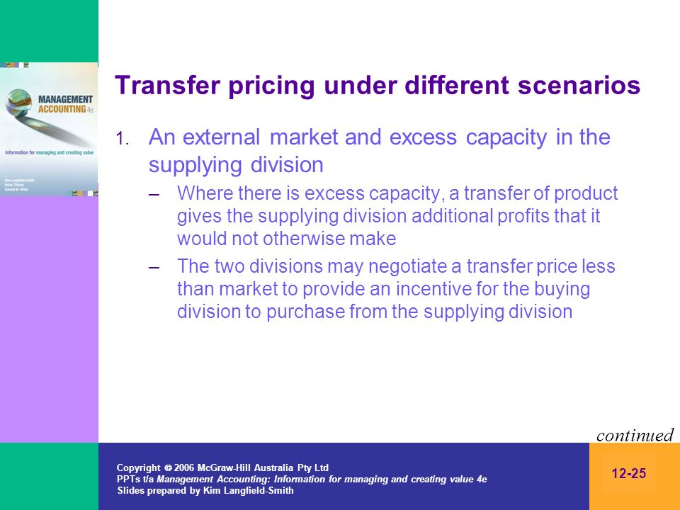 Copyright 2006 McGraw-Hill Australia Pty Ltd PPTs t/a Management Accounting: Information for managing and creating value 4e Slides prepared by Kim Langfield-Smith 12-25 Transfer pricing under different scenarios 1.