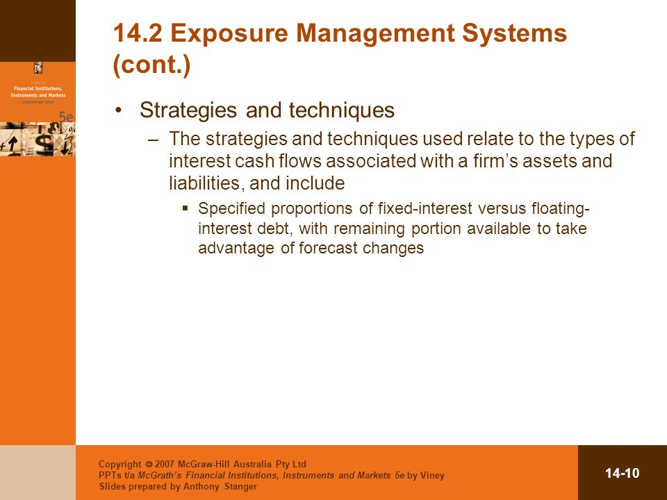 Copyright 2007 McGraw-Hill Australia Pty Ltd PPTs t/a McGraths Financial Institutions, Instruments and Markets 5e by Viney Slides prepared by Anthony Stanger Exposure Management Systems (cont.) Strategies and techniques –The strategies and techniques used relate to the types of interest cash flows associated with a firms assets and liabilities, and include Specified proportions of fixed-interest versus floating- interest debt, with remaining portion available to take advantage of forecast changes