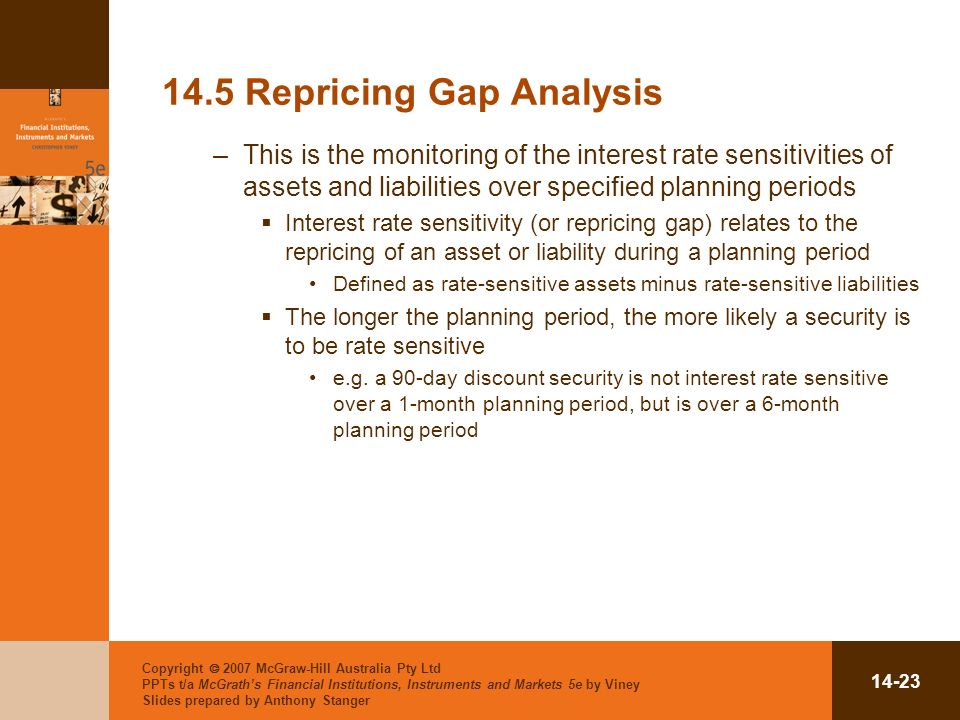 Copyright 2007 McGraw-Hill Australia Pty Ltd PPTs t/a McGraths Financial Institutions, Instruments and Markets 5e by Viney Slides prepared by Anthony Stanger Repricing Gap Analysis –This is the monitoring of the interest rate sensitivities of assets and liabilities over specified planning periods Interest rate sensitivity (or repricing gap) relates to the repricing of an asset or liability during a planning period Defined as rate-sensitive assets minus rate-sensitive liabilities The longer the planning period, the more likely a security is to be rate sensitive e.g.