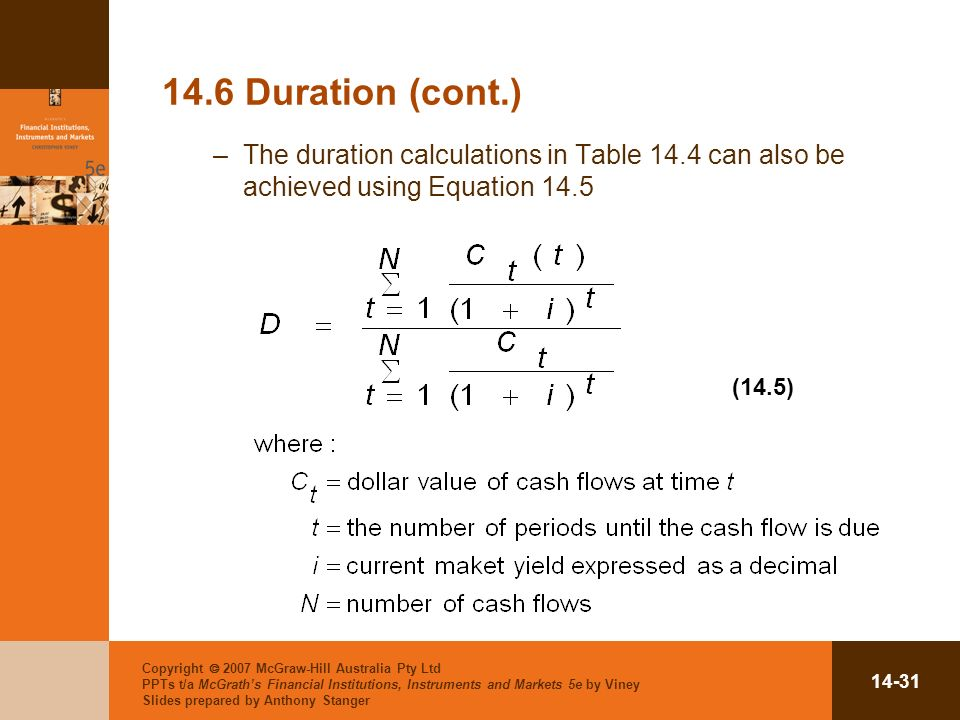 Copyright 2007 McGraw-Hill Australia Pty Ltd PPTs t/a McGraths Financial Institutions, Instruments and Markets 5e by Viney Slides prepared by Anthony Stanger Duration (cont.) –The duration calculations in Table 14.4 can also be achieved using Equation 14.5 (14.5)