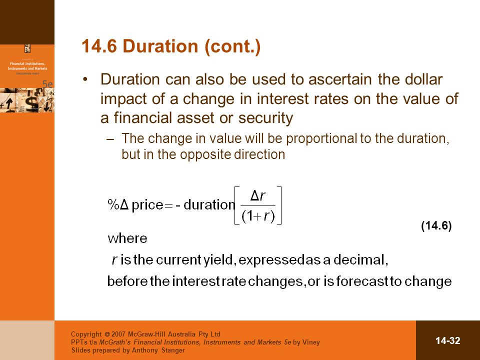 Copyright 2007 McGraw-Hill Australia Pty Ltd PPTs t/a McGraths Financial Institutions, Instruments and Markets 5e by Viney Slides prepared by Anthony Stanger Duration (cont.) Duration can also be used to ascertain the dollar impact of a change in interest rates on the value of a financial asset or security –The change in value will be proportional to the duration, but in the opposite direction (14.6)