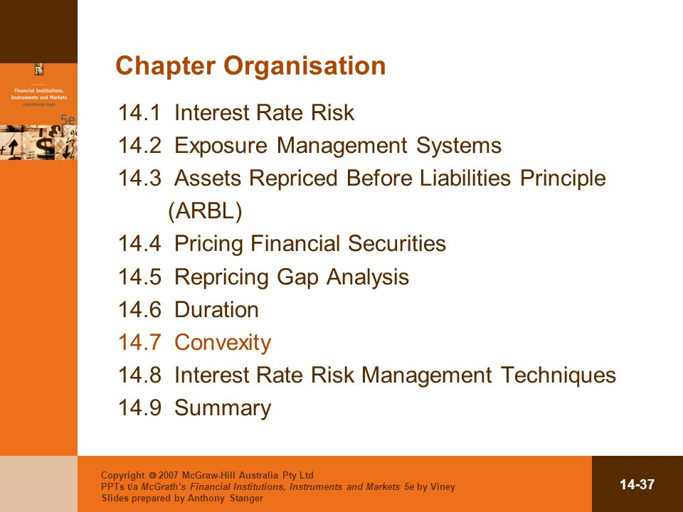 Copyright 2007 McGraw-Hill Australia Pty Ltd PPTs t/a McGraths Financial Institutions, Instruments and Markets 5e by Viney Slides prepared by Anthony Stanger Chapter Organisation 14.1 Interest Rate Risk 14.2 Exposure Management Systems 14.3 Assets Repriced Before Liabilities Principle (ARBL) 14.4 Pricing Financial Securities 14.5 Repricing Gap Analysis 14.6 Duration 14.7 Convexity 14.8 Interest Rate Risk Management Techniques 14.9 Summary