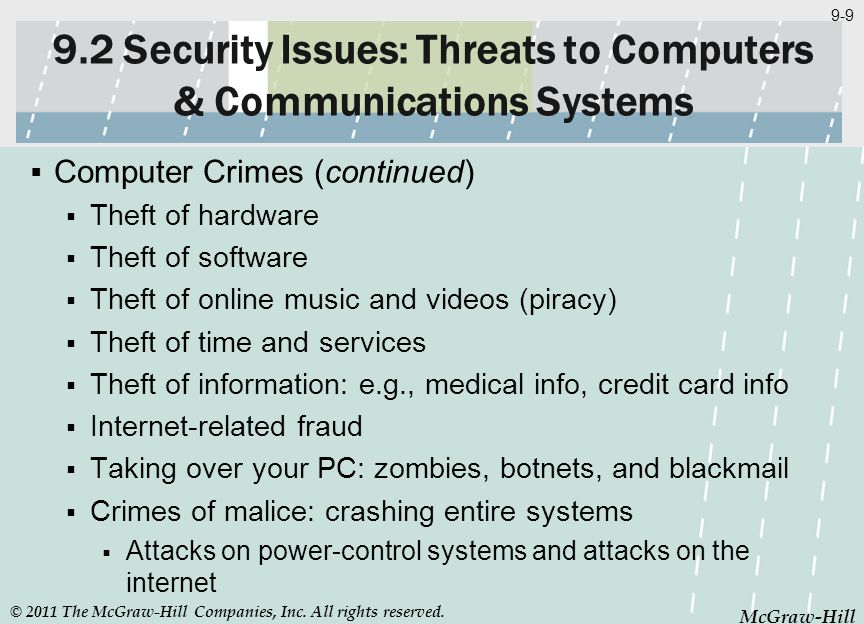 McGraw-Hill 9-9 McGraw-Hill 9.2 Security Issues: Threats to Computers & Communications Systems Computer Crimes (continued) Theft of hardware Theft of