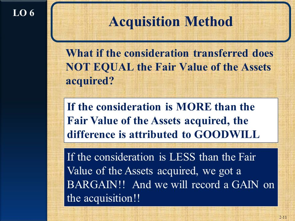 2-11 Acquisition Method What if the consideration transferred does NOT EQUAL the Fair Value of the Assets acquired.