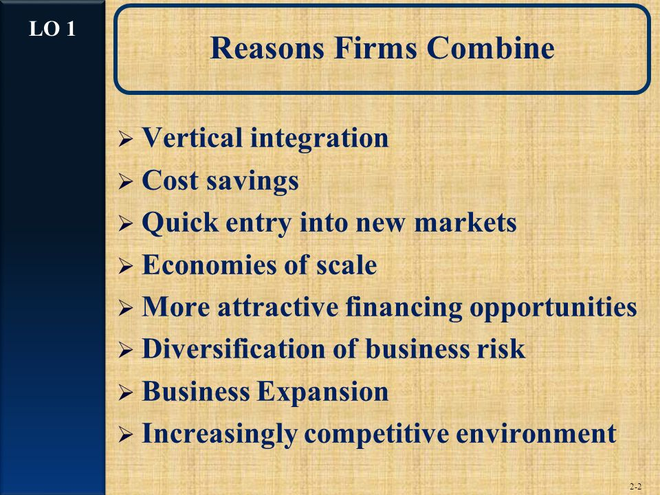 2-2 Reasons Firms Combine Vertical integration Cost savings Quick entry into new markets Economies of scale More attractive financing opportunities Diversification of business risk Business Expansion Increasingly competitive environment LO 1
