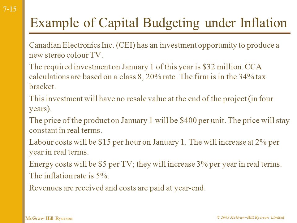 7-15 McGraw-Hill Ryerson © 2003 McGraw–Hill Ryerson Limited Example of Capital Budgeting under Inflation Canadian Electronics Inc.