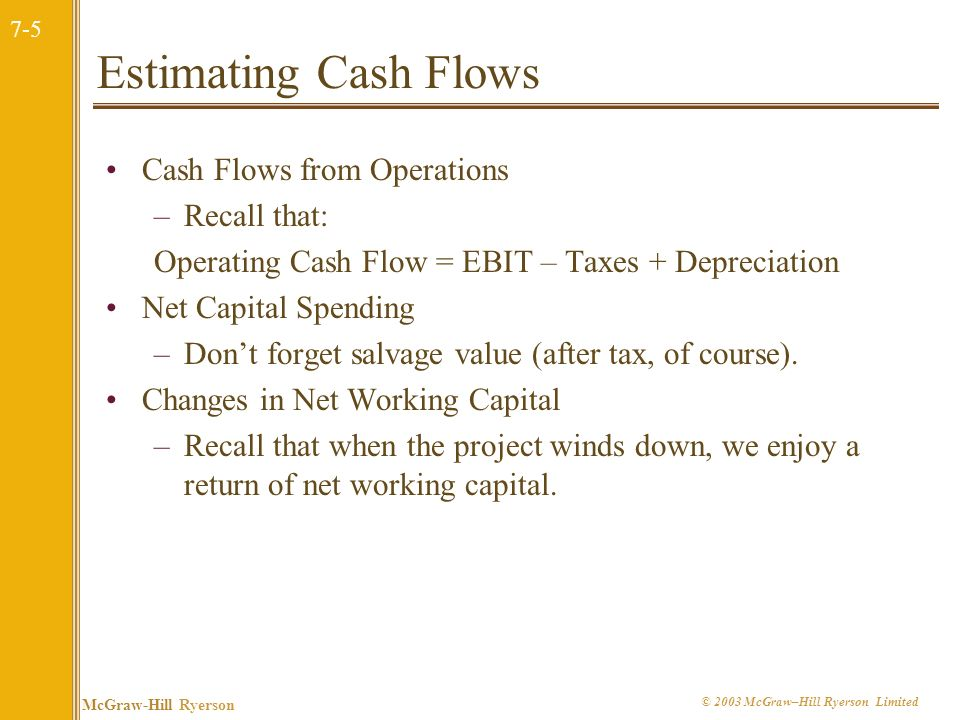 7-5 McGraw-Hill Ryerson © 2003 McGraw–Hill Ryerson Limited Estimating Cash Flows Cash Flows from Operations –Recall that: Operating Cash Flow = EBIT – Taxes + Depreciation Net Capital Spending –Dont forget salvage value (after tax, of course).