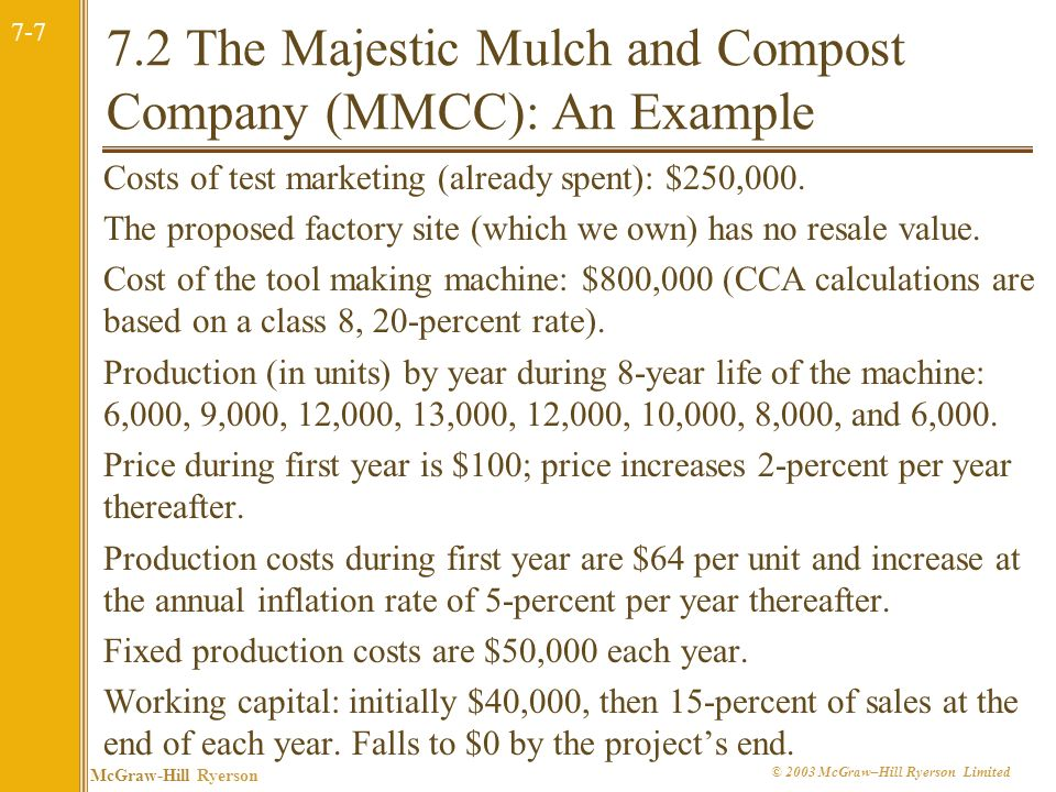 7-7 McGraw-Hill Ryerson © 2003 McGraw–Hill Ryerson Limited 7.2 The Majestic Mulch and Compost Company (MMCC): An Example Costs of test marketing (already spent): $250,000.
