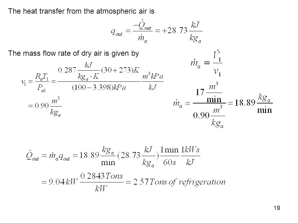 19 The heat transfer from the atmospheric air is The mass flow rate of dry air is given by