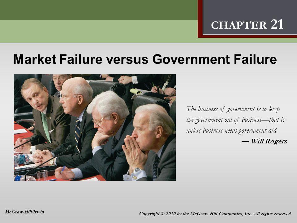 Market Failure versus Government Failure 21 Market Failure versus Government Failure The business of government is to keep the government out of busin