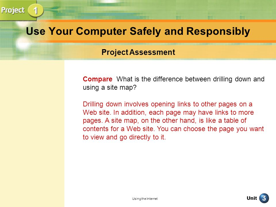 Unit Using the Internet Use Your Computer Safely and Responsibly Project Assessment Compare What is the difference between drilling down and using a s