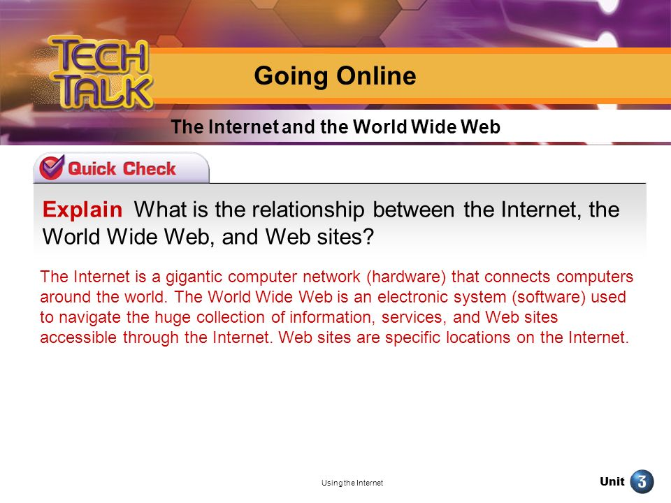 Unit Using the Internet Explain What is the relationship between the Internet, the World Wide Web, and Web sites? The Internet and the World Wide Web