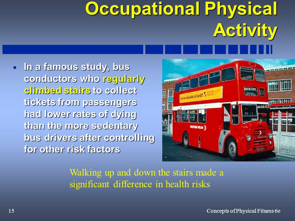 15Concepts of Physical Fitness 6e Occupational Physical Activity In a famous study, bus conductors who regularly climbed stairs to collect tickets from passengers had lower rates of dying than the more sedentary bus drivers after controlling for other risk factors In a famous study, bus conductors who regularly climbed stairs to collect tickets from passengers had lower rates of dying than the more sedentary bus drivers after controlling for other risk factors Walking up and down the stairs made a significant difference in health risks