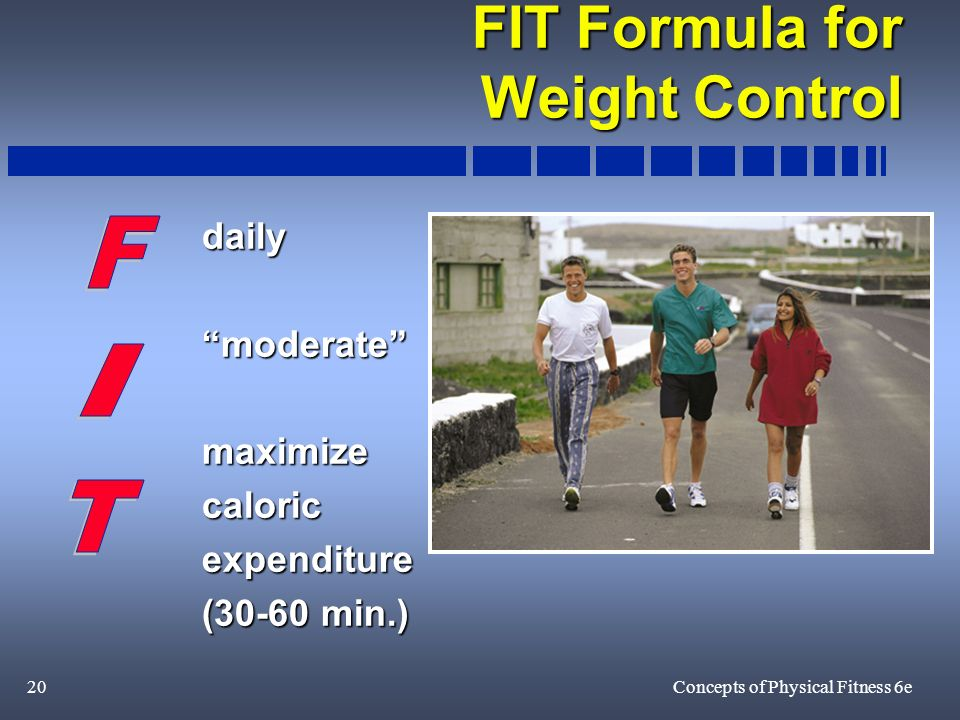 20Concepts of Physical Fitness 6e FIT Formula for Weight Control dailymoderatemaximizecaloricexpenditure (30-60 min.)