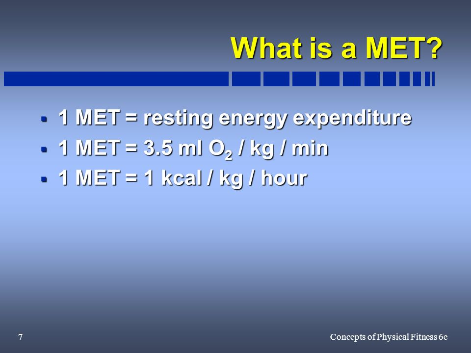 7Concepts of Physical Fitness 6e What is a MET.