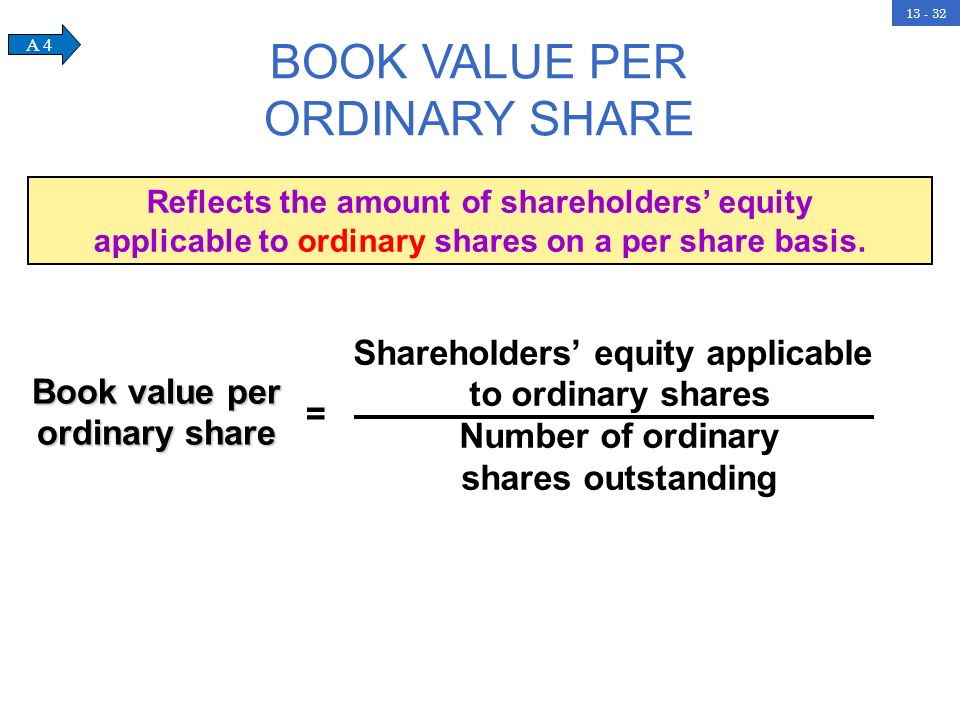 13 - 32 BOOK VALUE PER ORDINARY SHARE Book value per ordinary share = Shareholders equity applicable to ordinary shares Number of ordinary shares outs