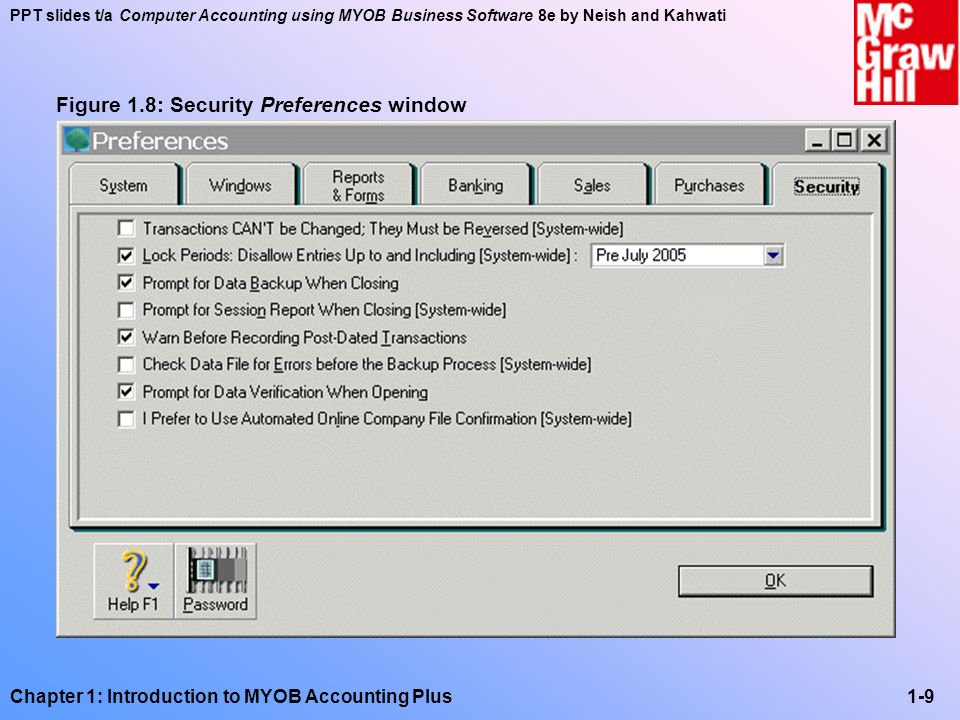 PPT slides t/a Computer Accounting using MYOB Business Software 8e by Neish and Kahwati Chapter 1: Introduction to MYOB Accounting Plus1-10 Figure 1.9: System Preferences window