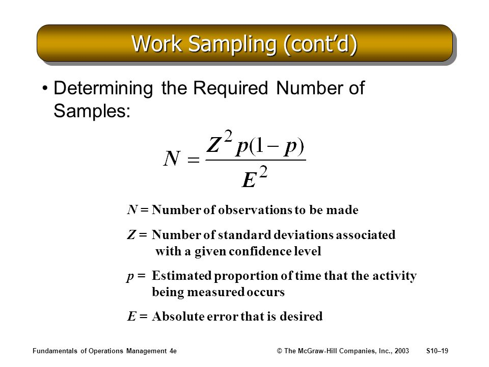 Fundamentals of Operations Management 4e© The McGraw-Hill Companies, Inc., 2003S10–19 Work Sampling (contd) Determining the Required Number of Samples: N =Number of observations to be made Z =Number of standard deviations associated with a given confidence level p =Estimated proportion of time that the activity being measured occurs E =Absolute error that is desired