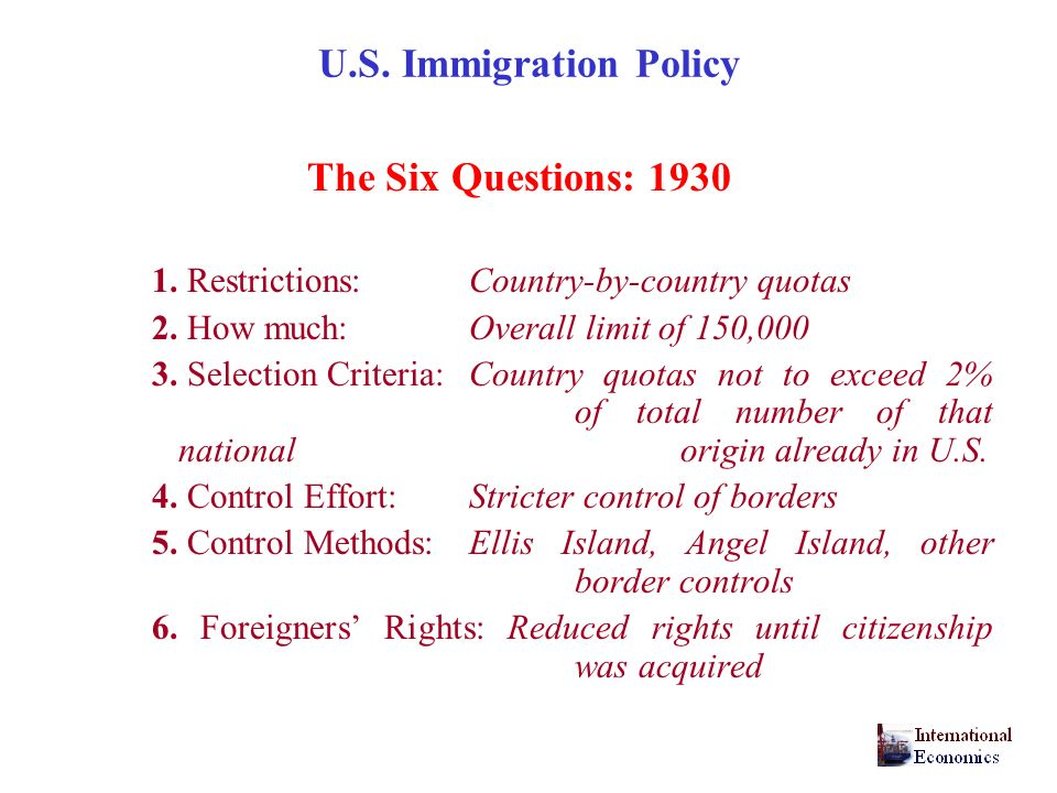 U.S.Immigration Policy The Six Questions: 1930 1.