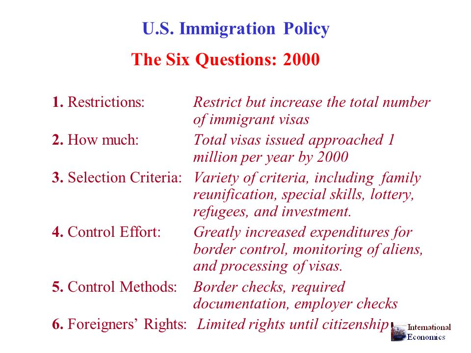 U.S.Immigration Policy The Six Questions: 2000 1.