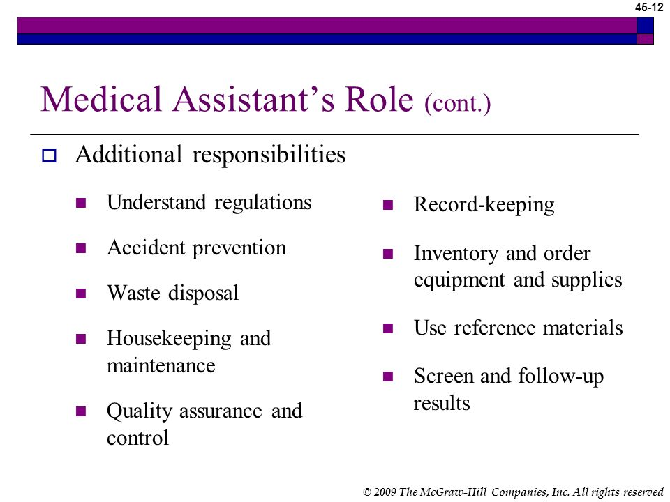 © 2009 The McGraw-Hill Companies, Inc. All rights reserved 45-11 Medical Assistants Role Processing tests done in POL Preparing the patient Collecting