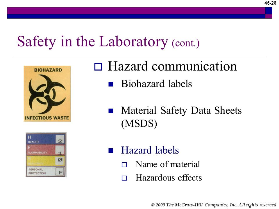 © 2009 The McGraw-Hill Companies, Inc. All rights reserved 45-25 Safety in the Laboratory (cont.) Standard Precautions Assume that all blood, blood pr