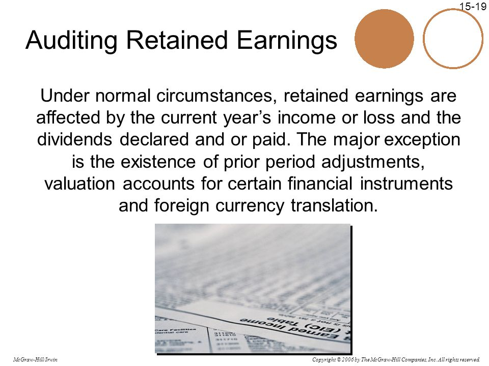 Copyright © 2006 by The McGraw-Hill Companies, Inc. All rights reserved. McGraw-Hill/Irwin 15-19 Auditing Retained Earnings Under normal circumstances