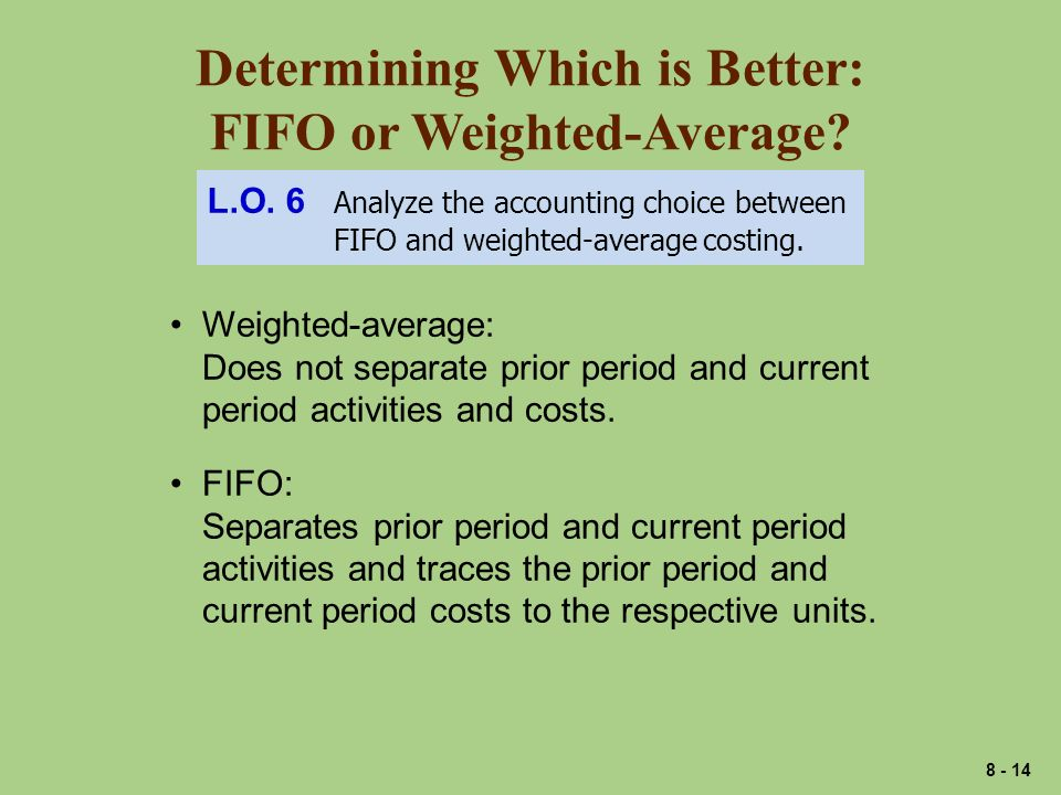 Determining Which is Better: FIFO or Weighted-Average.