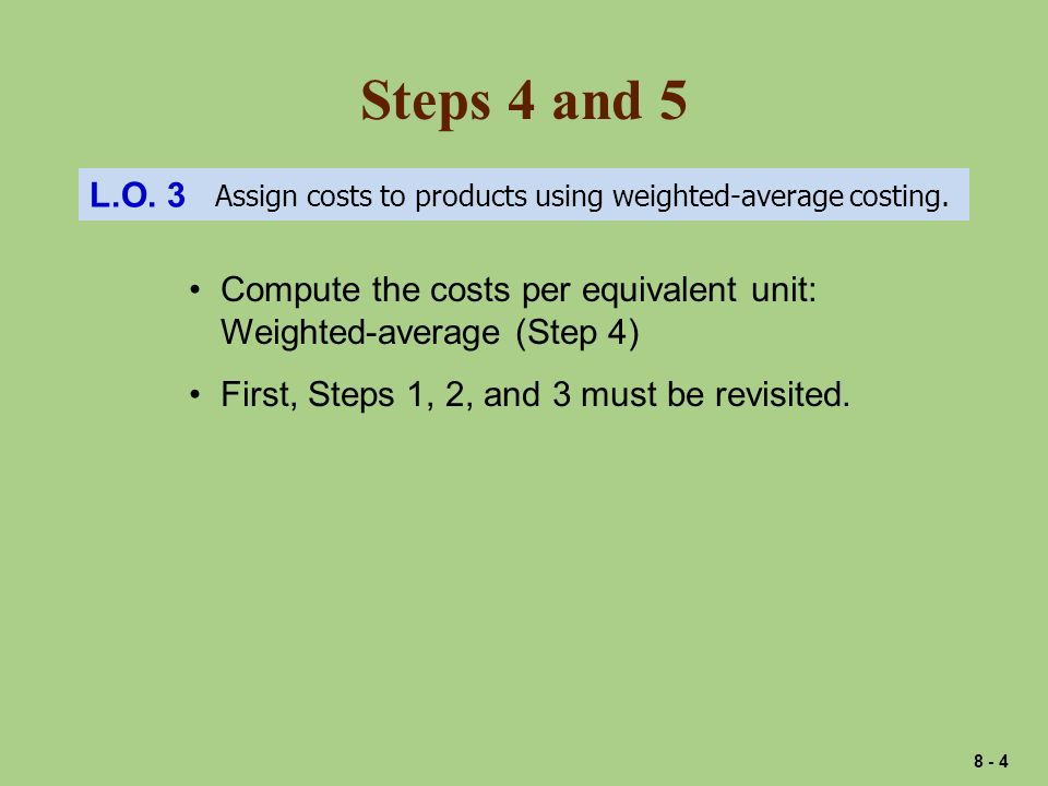 Steps 4 and 5 L.O. 3 Assign costs to products using weighted-average costing.