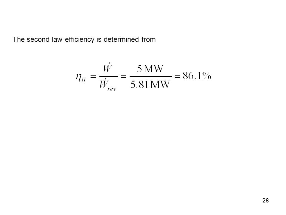 28 The second-law efficiency is determined from