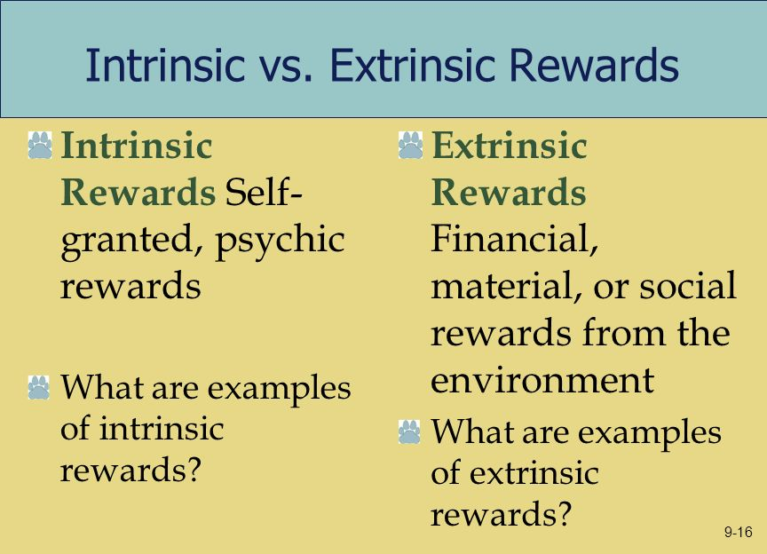 Intrinsic vs. Extrinsic Rewards Intrinsic Rewards Self- granted, psychic rewards What are examples of intrinsic rewards? Extrinsic Rewards Financial,