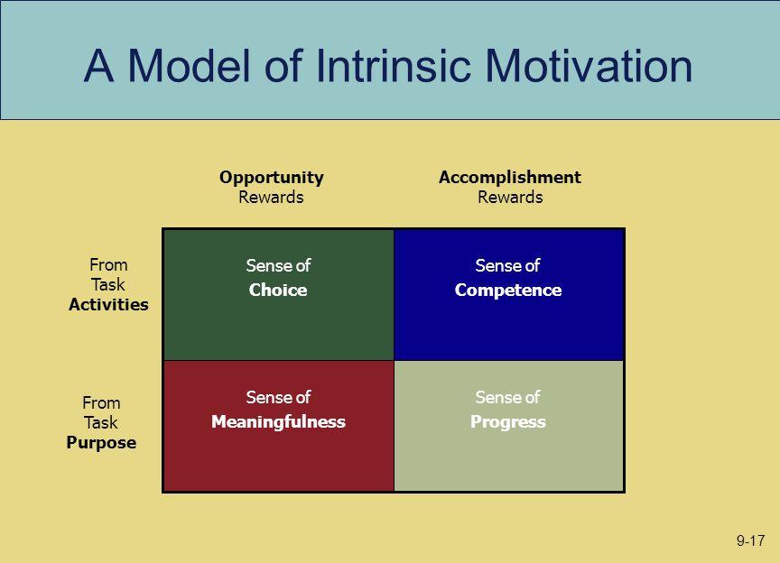 A Model of Intrinsic Motivation Sense of Progress Sense of Meaningfulness Sense of Competence Sense of Choice Opportunity Rewards Accomplishment Rewar