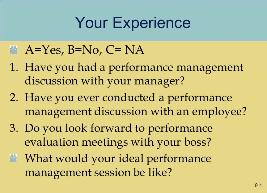 Your Experience A=Yes, B=No, C= NA 1.Have you had a performance management discussion with your manager? 2.Have you ever conducted a performance manag