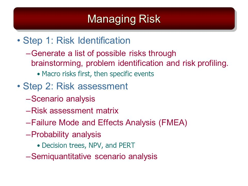 Managing Risk Step 1: Risk Identification –Generate a list of possible risks through brainstorming, problem identification and risk profiling. Macro r