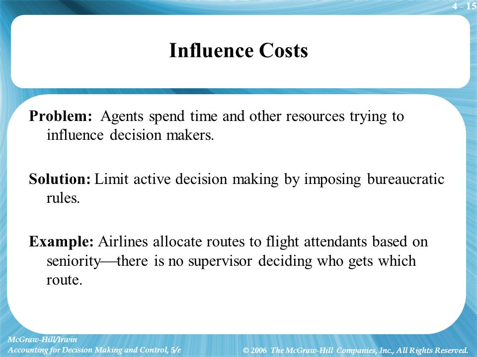 4 - 15 McGraw-Hill/Irwin Accounting for Decision Making and Control, 5/e © 2006 The McGraw-Hill Companies, Inc., All Rights Reserved. Influence Costs