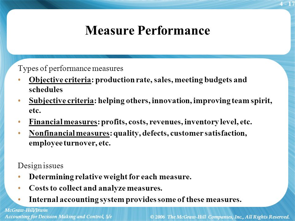 4 - 17 McGraw-Hill/Irwin Accounting for Decision Making and Control, 5/e © 2006 The McGraw-Hill Companies, Inc., All Rights Reserved. Measure Performa