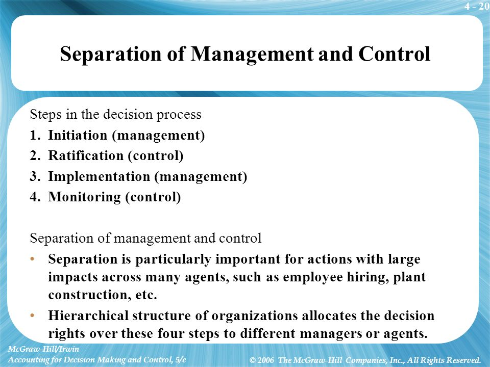 4 - 20 McGraw-Hill/Irwin Accounting for Decision Making and Control, 5/e © 2006 The McGraw-Hill Companies, Inc., All Rights Reserved. Separation of Ma