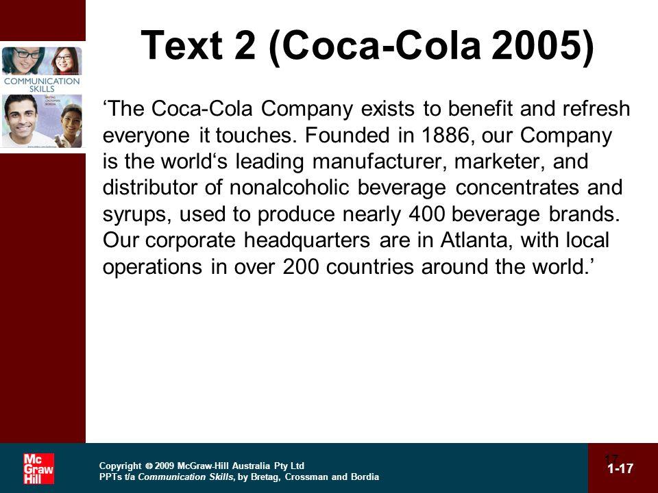 Copyright 2009 McGraw-Hill Australia Pty Ltd PPTs t/a Communication Skills, by Bretag, Crossman and Bordia 1-17 17 Text 2 (Coca-Cola 2005) The Coca-Co