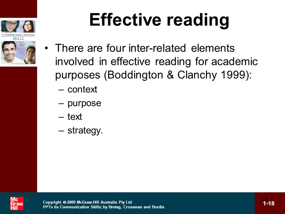 Copyright 2009 McGraw-Hill Australia Pty Ltd PPTs t/a Communication Skills, by Bretag, Crossman and Bordia 1-18 18 Effective reading There are four in