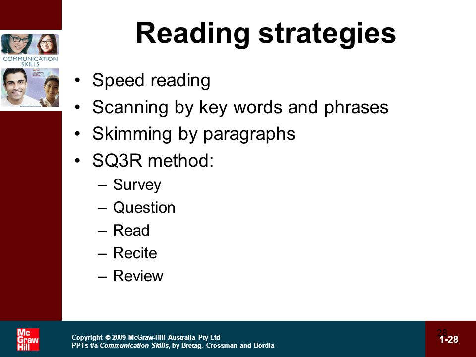Copyright 2009 McGraw-Hill Australia Pty Ltd PPTs t/a Communication Skills, by Bretag, Crossman and Bordia 1-28 28 Reading strategies Speed reading Sc