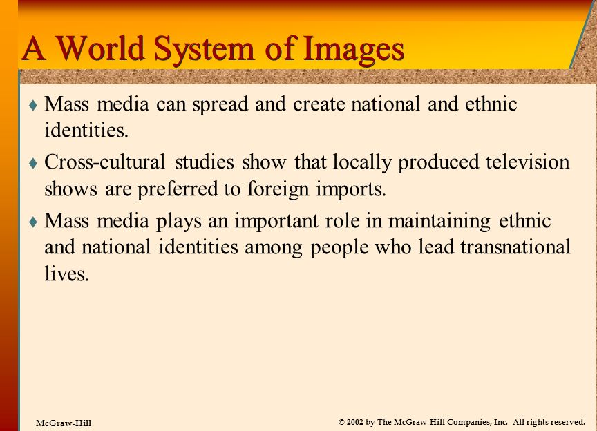 © 2002 by The McGraw-Hill Companies, Inc. All rights reserved. McGraw-Hill A World System of Images Mass media can spread and create national and ethn