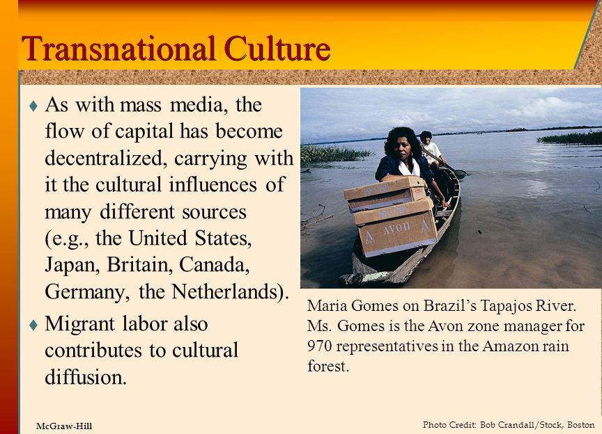 © 2002 by The McGraw-Hill Companies, Inc. All rights reserved. McGraw-Hill Transnational Culture As with mass media, the flow of capital has become de