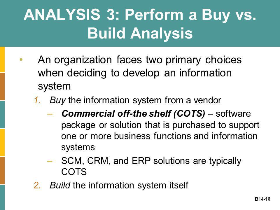 B14-16 ANALYSIS 3: Perform a Buy vs. Build Analysis An organization faces two primary choices when deciding to develop an information system 1.Buy the