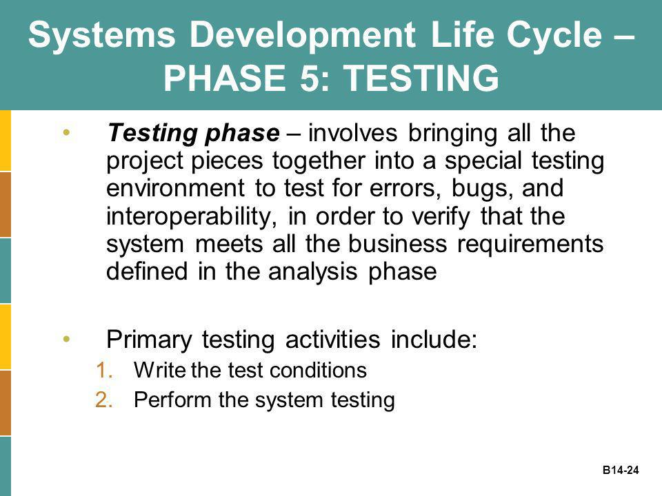 B14-24 Systems Development Life Cycle – PHASE 5: TESTING Testing phase – involves bringing all the project pieces together into a special testing envi