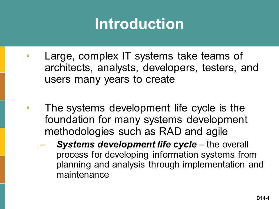 B14-4 Introduction Large, complex IT systems take teams of architects, analysts, developers, testers, and users many years to create The systems devel